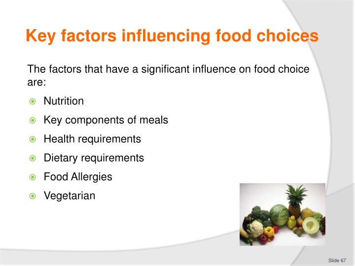 Key factors influencing food choices