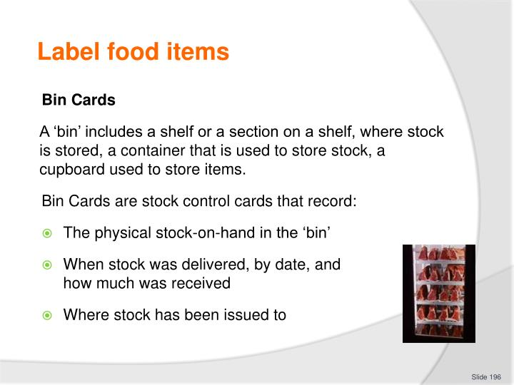 Label food items