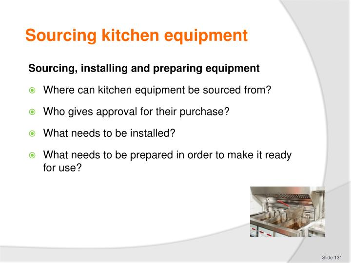 Sourcing kitchen equipment