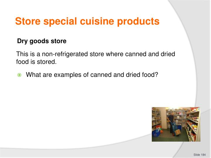 Store special cuisine products