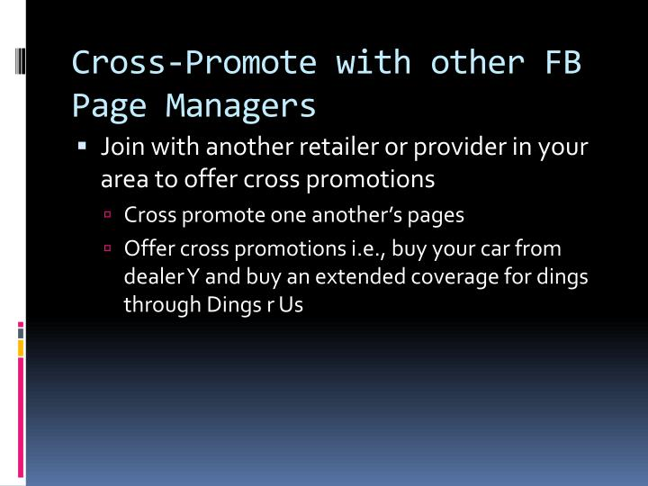 Cross-Promote with other FB Page Managers