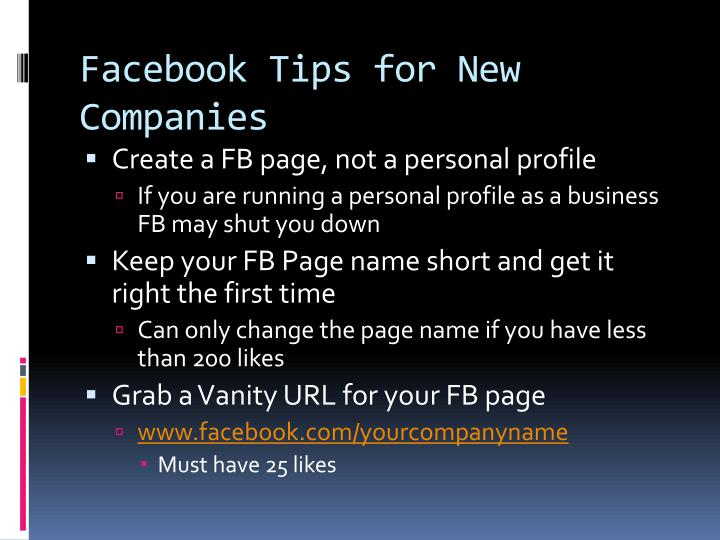 Facebook Tips for New Companies