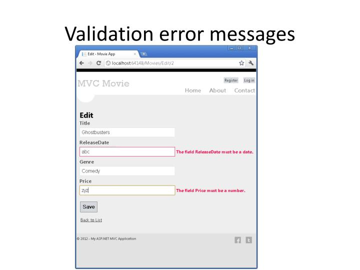 Validation error messages