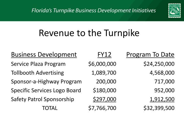 Revenue to the Turnpike