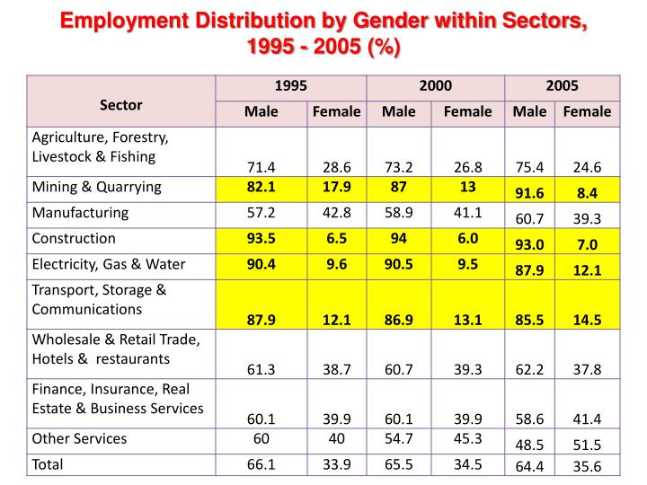 Employment Distribution by Gender within Sectors, 1995 - 2005 (%)
