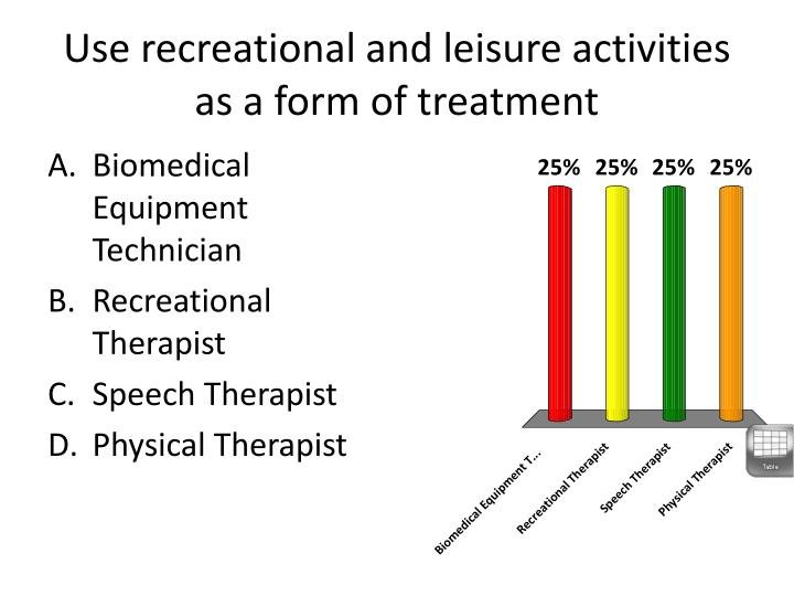 Use recreational and leisure activities as a form of treatment