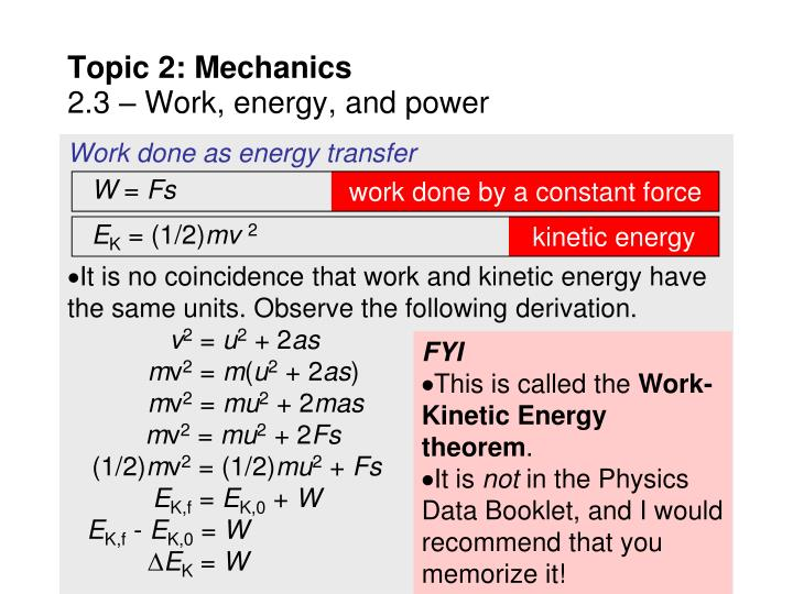 Work done as energy transfer