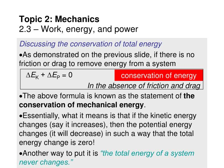Discussing the conservation of total energy