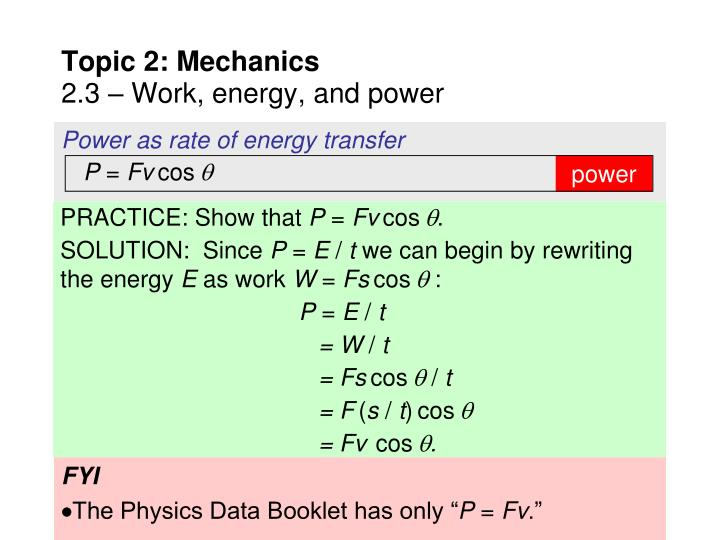 Power as rate of energy transfer