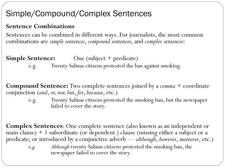 Simple/Compound/Complex Sentences