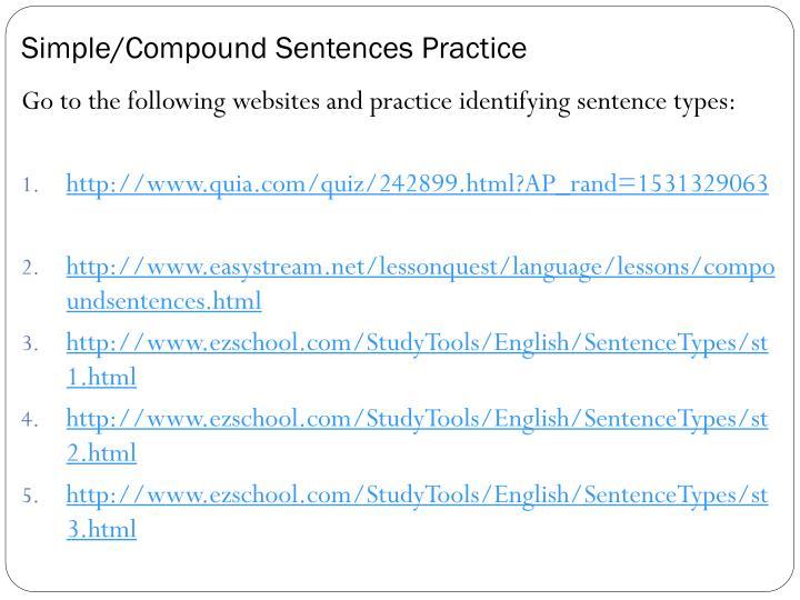 Simple/Compound Sentences Practice