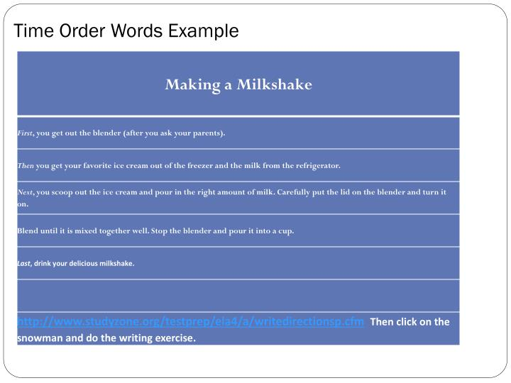 Time Order Words Example