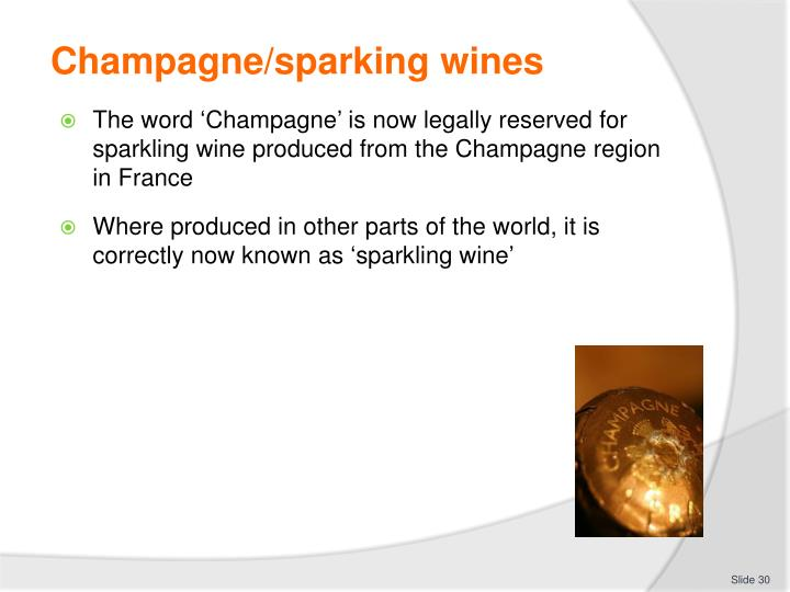 Champagne/sparking wines