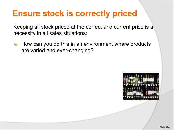 Ensure stock is correctly priced