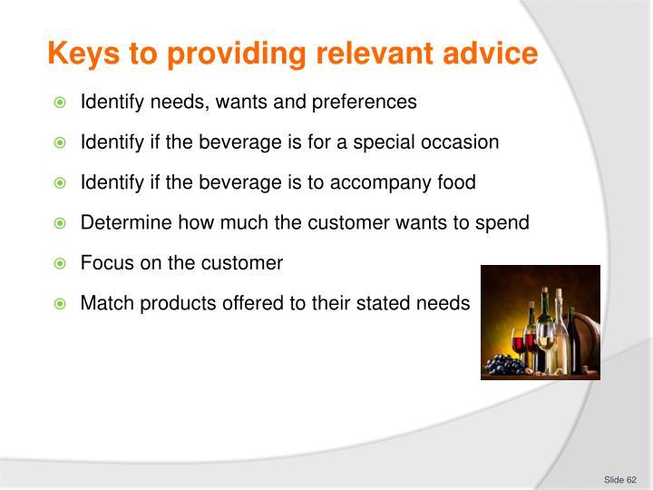 Keys to providing relevant advice