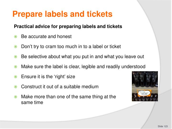 Prepare labels and tickets