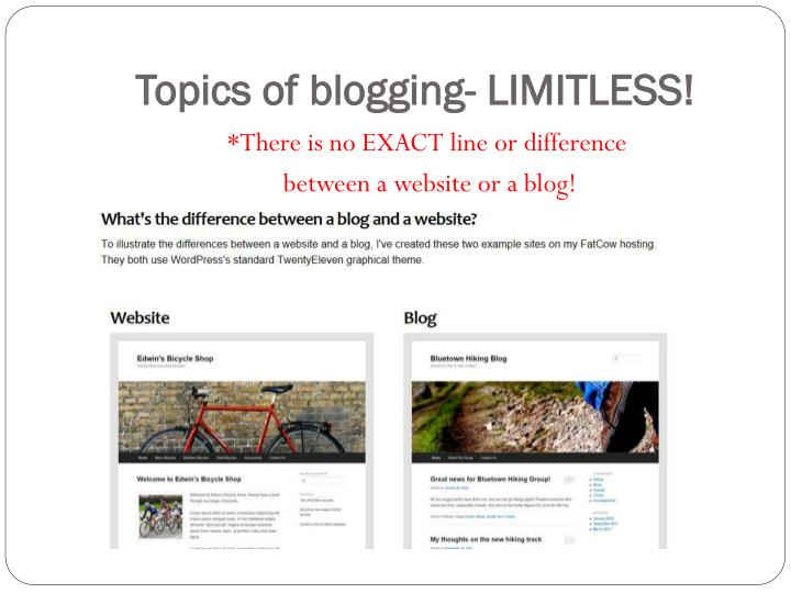 Topics of blogging- LIMITLESS!