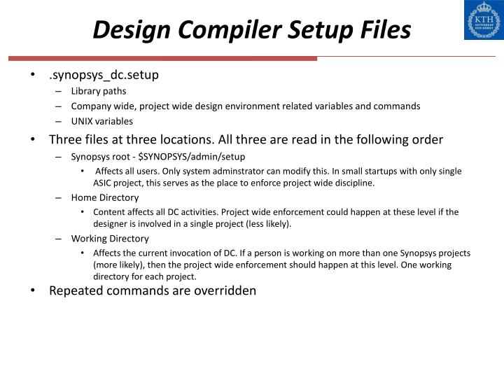 Design compiler setup files