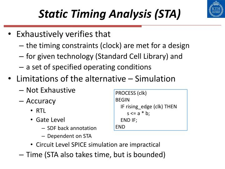 Static Timing Analysis (STA)