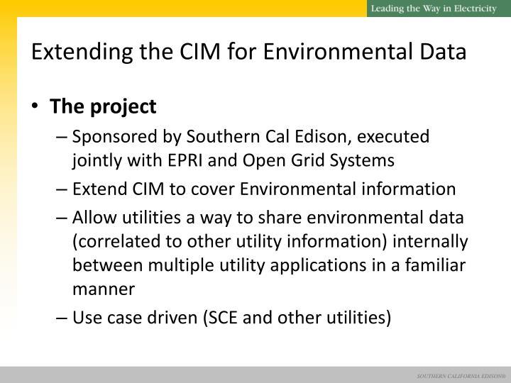 Extending the CIM for Environmental Data