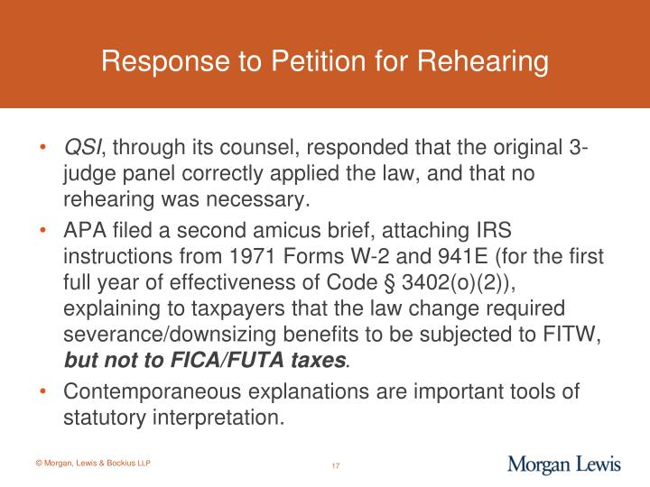 Response to Petition for Rehearing