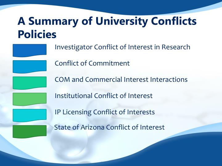A summary of university conflicts policies