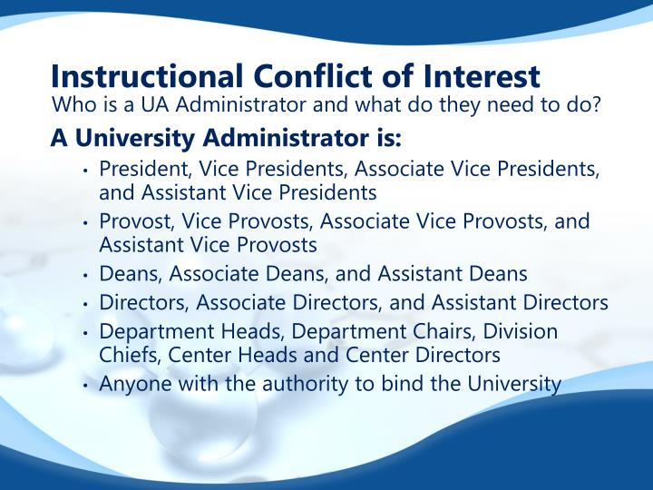 Instructional Conflict of Interest