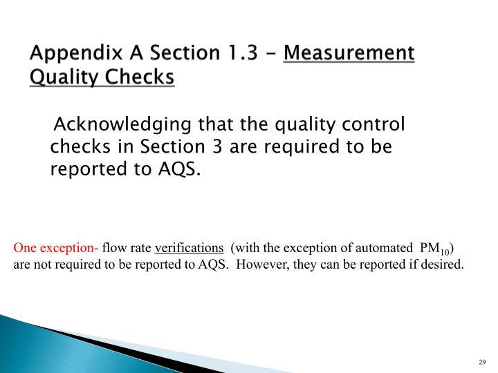 Appendix A Section 1.3 -