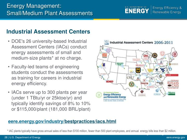DOE's 26 university-based Industrial Assessment Centers (IACs) conduct energy assessments of small and