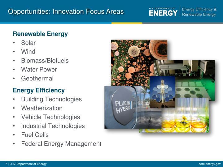 Opportunities: Innovation Focus Areas