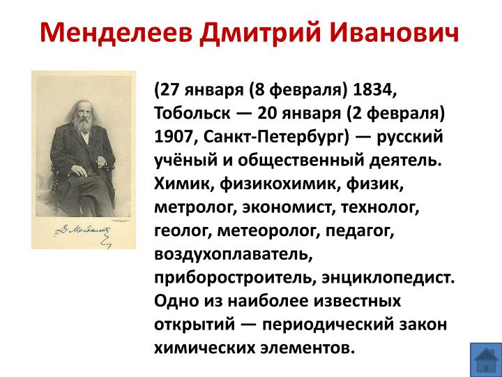 Менделеев Дмитрий Иванович