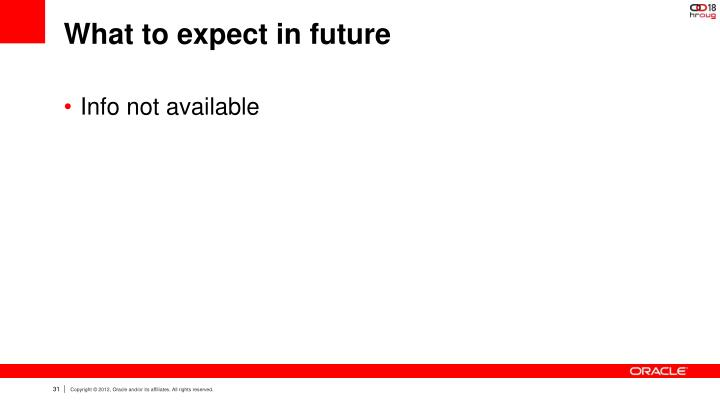 What to expect in future