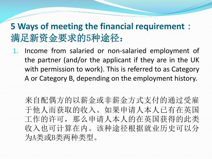 5 ways of meeting the financial requirement 5