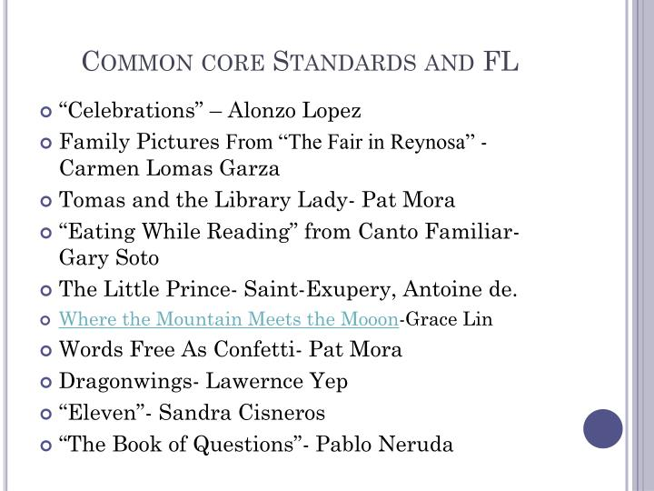 Common core Standards and FL