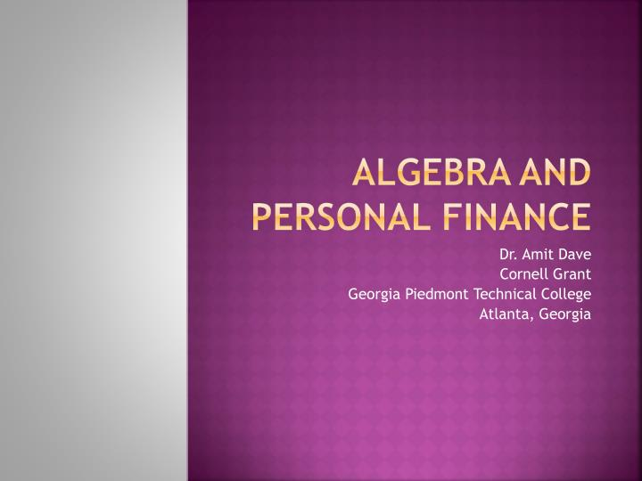 algebra and personal finance n.
