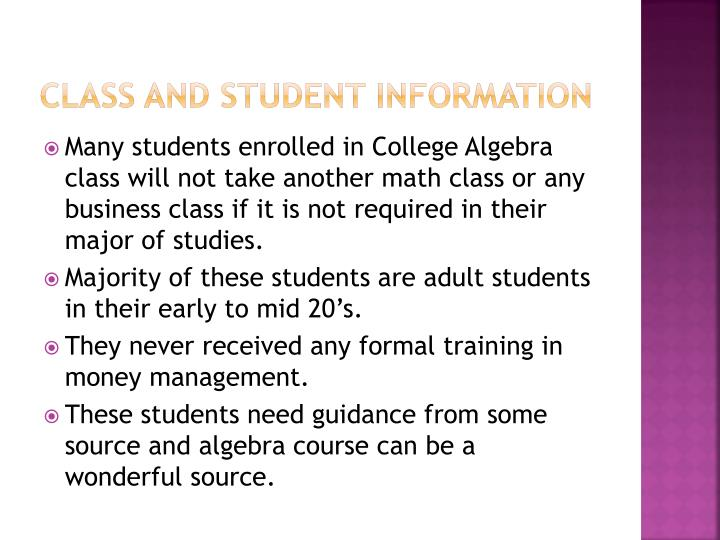 CLASS AND STUDENT INFORMATION