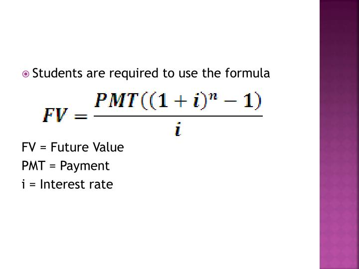 Students are required to use the formula