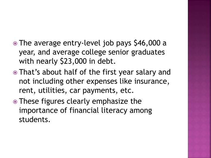 The average entry-level job pays $46,000 a year, and average college senior graduates with nearly $23,000 in debt.