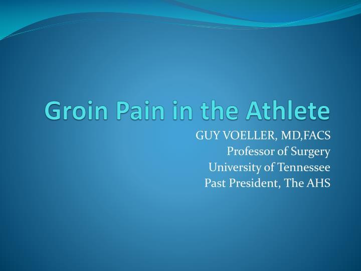 groin pain in the athlete n.