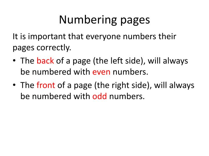 Numbering pages