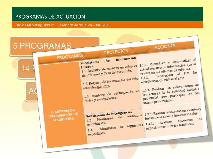 PROGRAMAS DE ACTUACIÓN