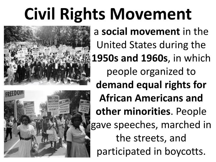 a history of the civil rights movement during the 1950s and 1960s in the united states The civil rights movement was mobilized in the 1950s, attempting to close the racial divide used by arrangement with alpha books, a member of penguin group (usa) inc to order this notable moments in civil rights history on the march thurgood marshall was a giant figure in the american civil rights movement.