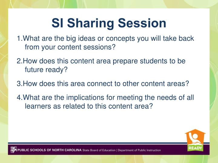 SI Sharing Session