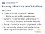 summary of preclinical and clinical data