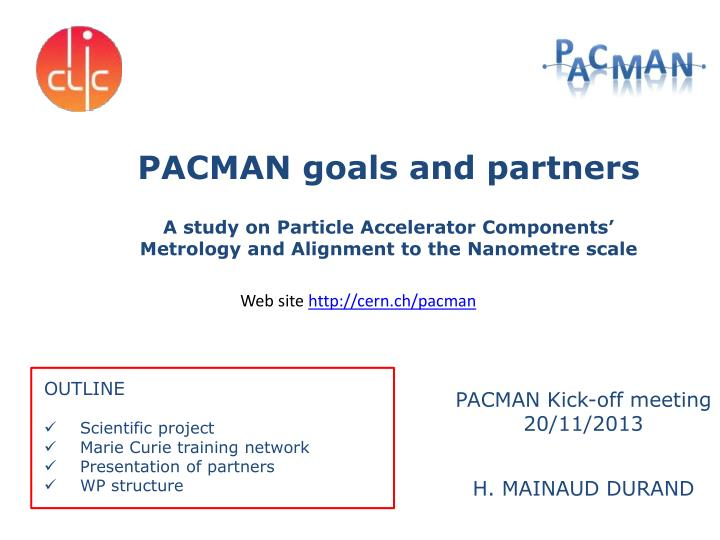 PACMAN goals and partners