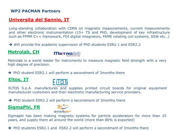 WP2 PACMAN Partners