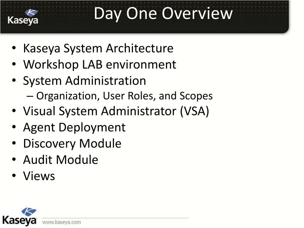PPT - Kaseya Fundamentals Workshop PowerPoint Presentation