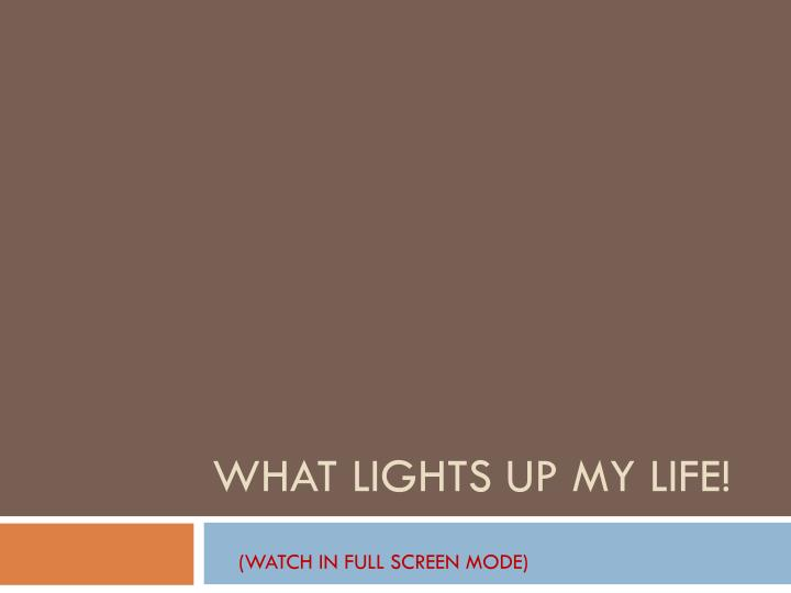 what lights up my life n.