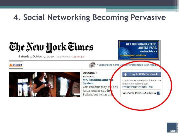 4. Social Networking Becoming Pervasive