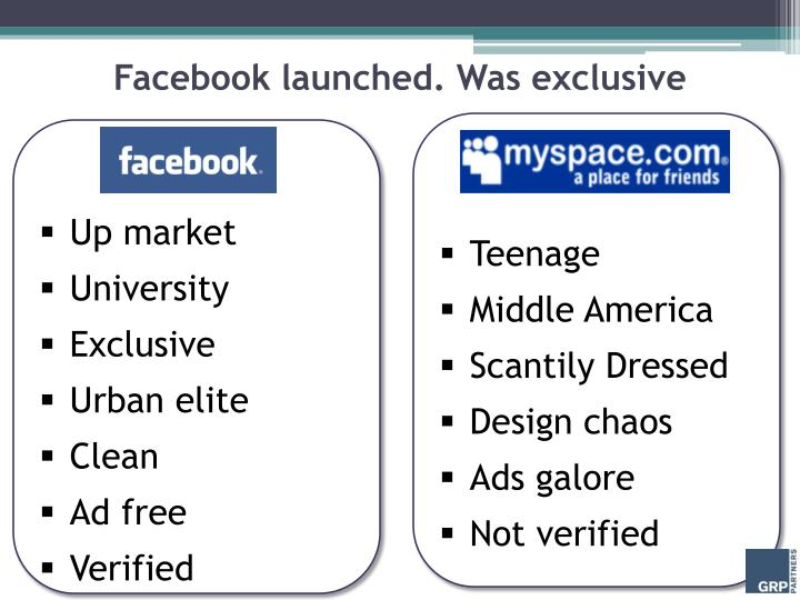 Facebook launched. Was exclusive